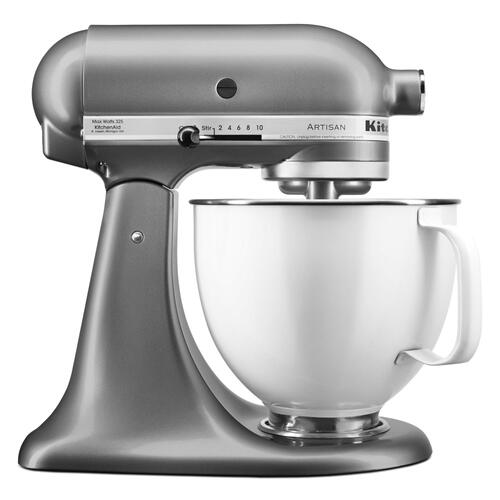 Artisan® Series Tilt-Head Stand Mixer with 5 Quart White Colorfast Finish Stainless Steel Bowl - Contour Silver