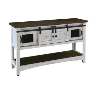 See Details - Thomas Console Table White w/ Brown Top