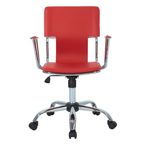 Dorado Office Chair With Fixed Padded Arms and Chrome Finish In Red