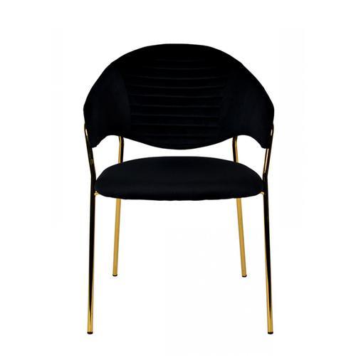 Modrest Trevor Modern Black Velvet & Gold Dining Chair (Set of 2)
