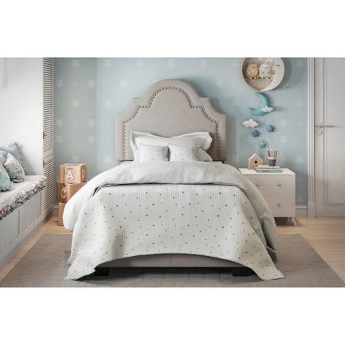 Queen Anne Nailhead Trim Upholstered Twin Bed in Light Gray