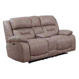 Harper Power Headrest Reclining Console Loveseat, Sand