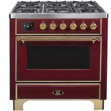 Majestic II 36 Inch Dual Fuel Liquid Propane Freestanding Range in Burgundy with Brass Trim