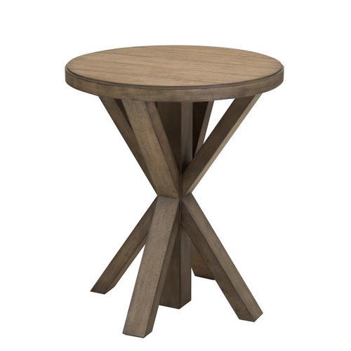 Light Oak Plank Top End Table