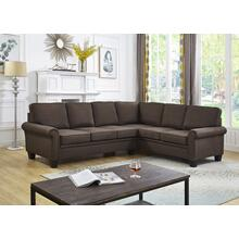 See Details - BROWN LINEN SECTIONAL CHAISE