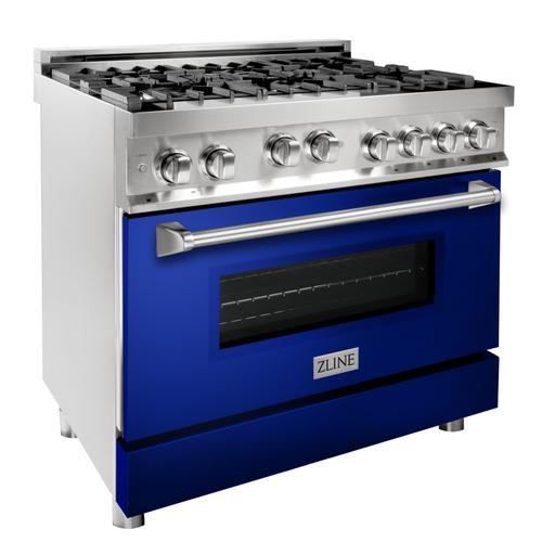 """Zline Kitchen and Bath - ZLINE 36"""" Professional 4.6 cu. ft. 6 Gas on Gas Range in Stainless Steel with Color Door Options (RG36) [Color: Blue Matte]"""