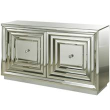2-Door Stepped Mirror Cabinet Done In All Beveled Mirror with Silver Finished Plynth Base & 50mm Dia