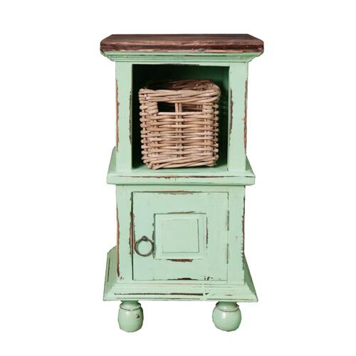 End Table with Basket - Green Weathered Finish