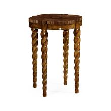 Walnut Barleytwist Quatrefoil Side Table
