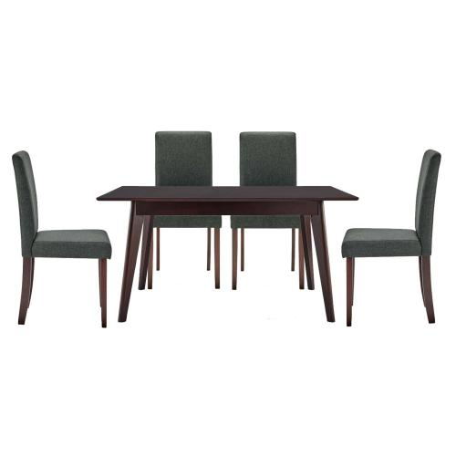 Prosper 5 Piece Upholstered Fabric Dining Set in Cappuccino Gray