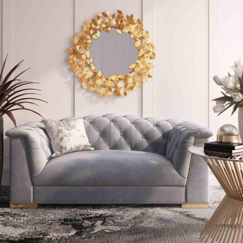 Farah Grey Velvet Loveseat by Inspire Me! Home Decor
