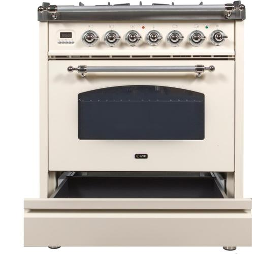 Nostalgie 30 Inch Dual Fuel Natural Gas Freestanding Range in Antique White with Chrome Trim