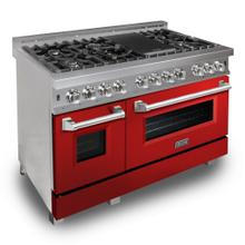 """View Product - ZLINE 48"""" DuraSnow® Stainless Steel 6.0 cu.ft. 7 Gas Burner/Electric Oven Range with Color Door Options (RAS-SN-48) [Color: Red Gloss]"""