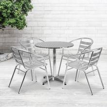 See Details - 27.5'' Round Aluminum Indoor-Outdoor Table Set with 4 Slat Back Chairs
