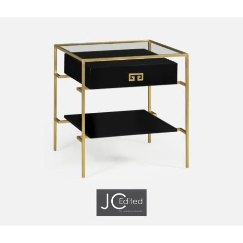 Gilded Iron Side Table in Smoky Black