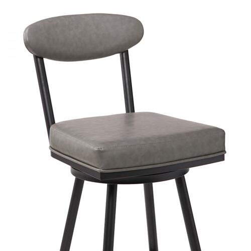 "Denver Contemporary 26"" Counter Height Barstool in Black Finish and Vintage Grey Faux Leather"