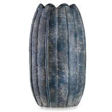 See Details - BORDINI BLUE  10in w X 18in ht X 10in d  Tall Dark Blue Leaf Design Artative Eco Paper Vase