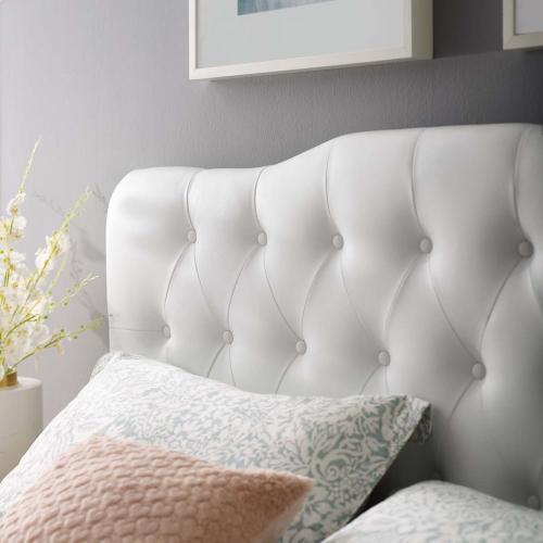 Annabel Full Upholstered Vinyl Headboard in White