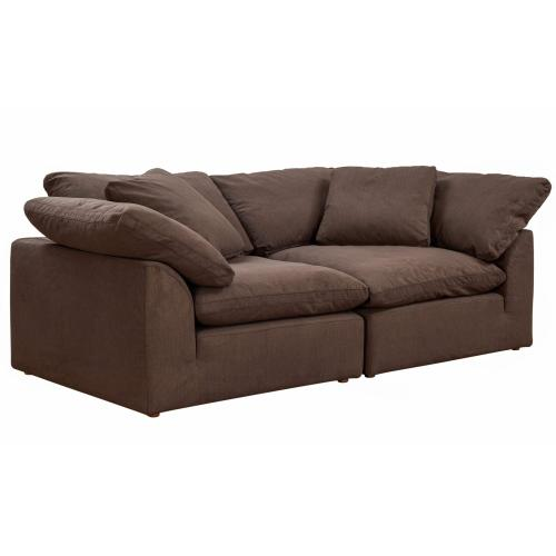 Cloud Puff Slipcovered Modular Sectional Sofa with Large Loveseat (2 Piece)
