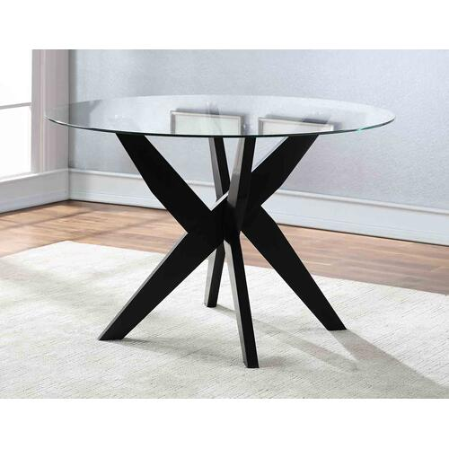 Amalie 48 inch Round Glass Top Table, Black