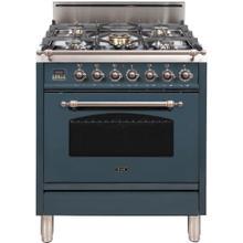 See Details - Nostalgie 30 Inch Gas Liquid Propane Freestanding Range in Blue Grey with Bronze Trim