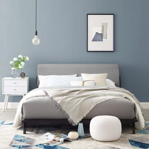 Modway - Luella Queen Upholstered Fabric Platform Bed in Cappuccino Light Gray