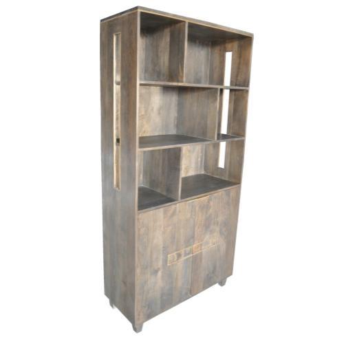 Belle Meade 2 Door Mango Wood Tall Cabinet and Bookshelf