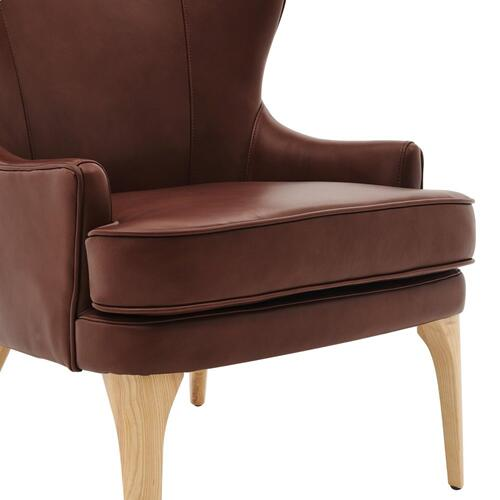 Bjorn KD Top Grain Leather Accent Chair, Garrett Brown