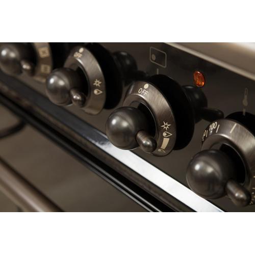 Nostalgie 30 Inch Gas Liquid Propane Freestanding Range in Glossy Black with Bronze Trim