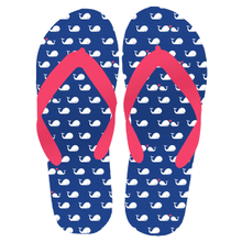"Women's ""Beach Time"" Whale Flip Flops LG (1 pair)"