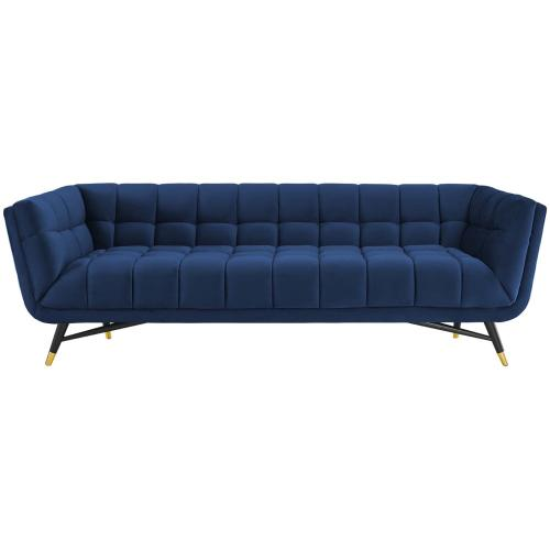 Adept Performance Velvet Sofa in Midnight Blue