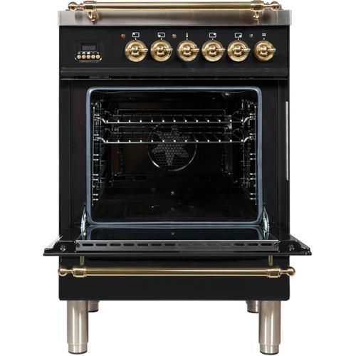 24 Inch Glossy Black Dual Fuel Liquid Propane Freestanding Range
