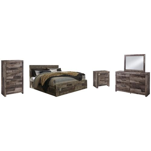 King Panel Bed With 6 Storage Drawers With Mirrored Dresser, Chest and Nightstand