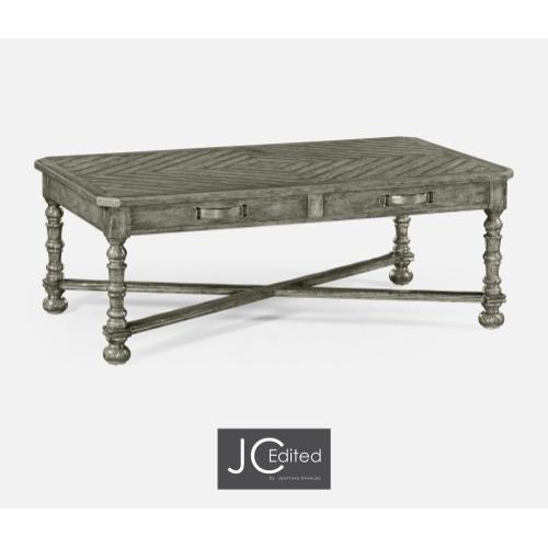 Antique Dark Grey Parquet Coffee Table with Strap Handles