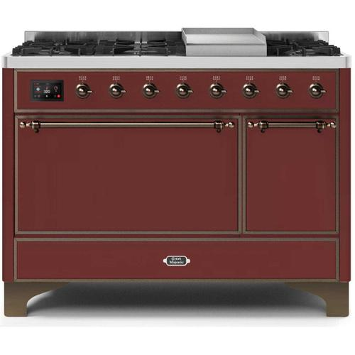 Product Image - Majestic II 48 Inch Dual Fuel Natural Gas Freestanding Range in Burgundy with Bronze Trim