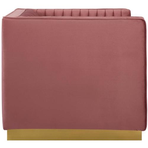 Sanguine Vertical Channel Tufted Accent Performance Velvet Armchair in Dusty Rose