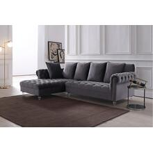 Divani Casa Temple Modern Grey Velvet Sectional Sofa