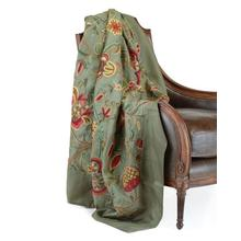 Green Cotton Velvet Throw