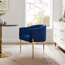 Savour Tufted Performance Velvet Accent Chair in Navy