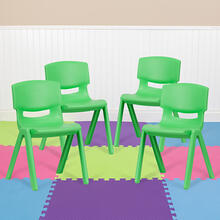 4 Pack Green Plastic Stackable School Chair with 13.25'' Seat Height [4-YU-YCX-004-GREEN-GG]