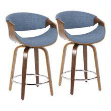 See Details - Curvini 24'' Counter Stool - Set Of 2 - Walnut Wood, Blue Fabric, Chrome