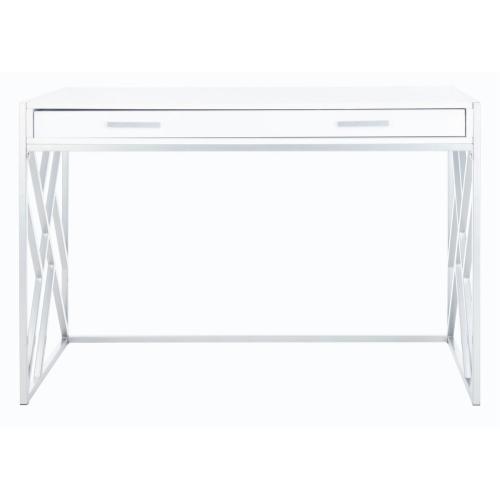Elaine 1 Drawer Desk - White / Silver