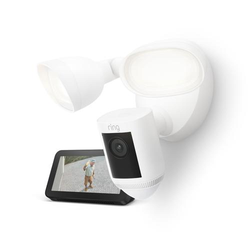 Ring - Floodlight Cam Wired Pro with Echo Show 5 (Charcoal) - White