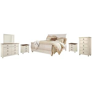 King Sleigh Bed With Mirrored Dresser, Chest and 2 Nightstands