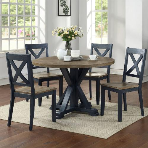 5 Piece Pedestal Table Set- Navy
