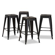 See Details - Baxton Studio Horton Modern and Contemporary Industrial Black Finished Metal 4-Piece Stackable Counter Stool Set