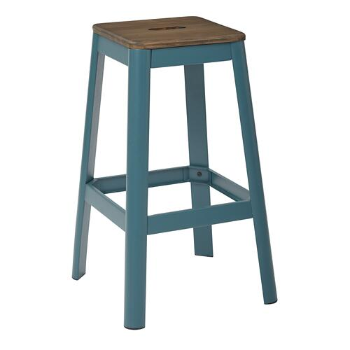"Hammond 30"" Metal Barstool With Darkwood Seat and Frosted Teal Frame Finish"