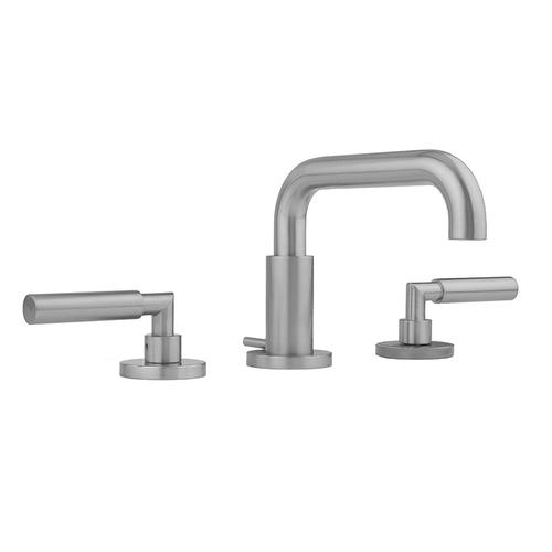 Jaclo - Antique Brass - Downtown Contempo Faucet with Round Escutcheons & Contempo Slim Lever Handles & Fully Polished & Plated Pop-Up Drain
