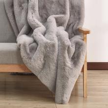 """Modern Soft Luxury Chinchilla Feel Faux Fur Throw by Rug Factory Plus - 50"""" x 60"""" / Silver"""