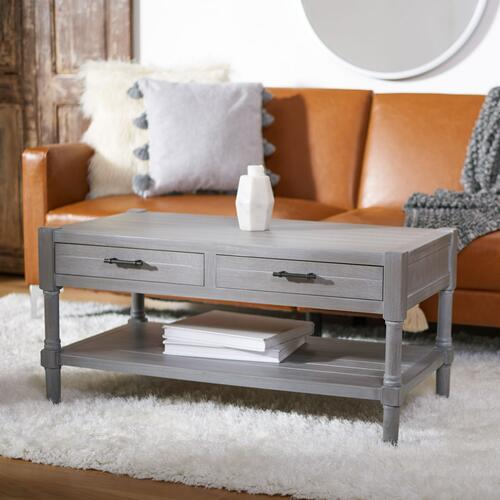 Safavieh - Filbert 2 Drawer Coffee Table - White Washed Grey